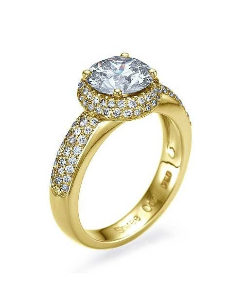 Engagement Rings Yellow Gold Double Halo Round Cut Engagement Ring - 1.5ct Diamond
