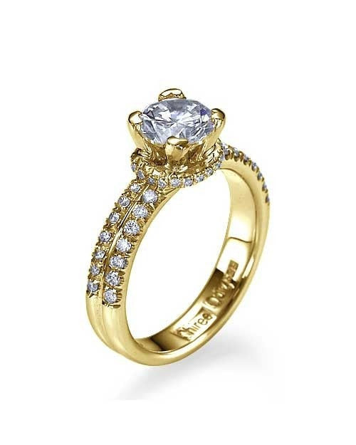 Engagement Rings Yellow Gold Double-Shank Pave Set Engagement Ring - 0.75ct Diamond