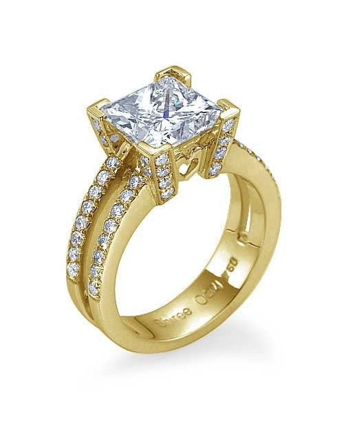 Engagement Rings Yellow Gold Double-Shank Princess Cut Engagement Ring - 2ct Diamond