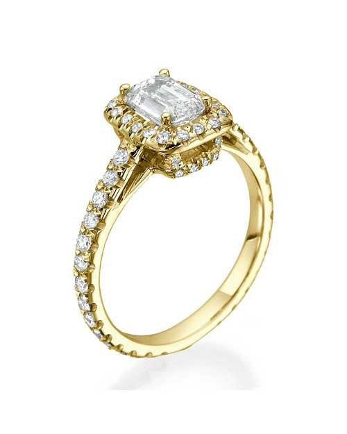 Engagement Rings Yellow Gold Emerald Cut Halo Scalloped Engagement Ring - 1ct Diamond