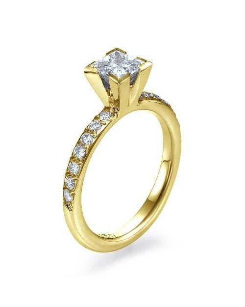 Yellow Gold Engagement Ring 4 Prong Solitaire - 0.75ct Princess Cut Diamond - Custom Made