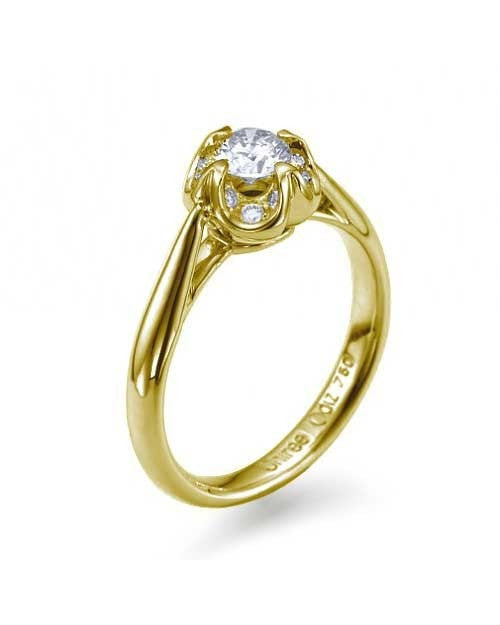 Engagement Rings Yellow Gold Engagement Rings - 0.40 carat Diamond in Vintage Style Flower