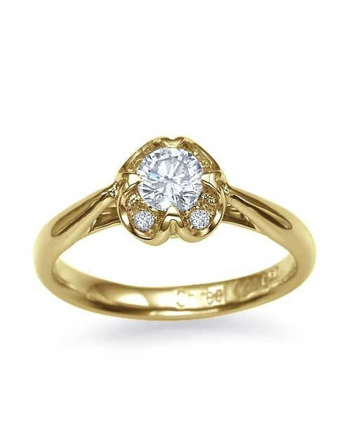 Yellow Gold Engagement Rings - 0.40 carat Diamond in Vintage Style Flower - Custom Made
