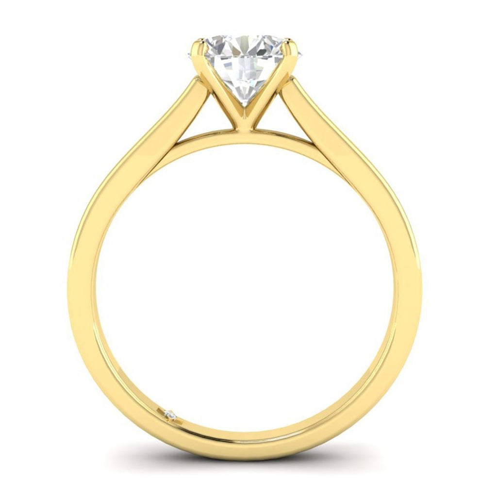 EN-SO-14-NAT-D-SI1-EX Yellow Gold Flat Shank Cathedral Solitaire Round Diamond Engagement Ring - 0.60 carat D/SI1 100% Natural