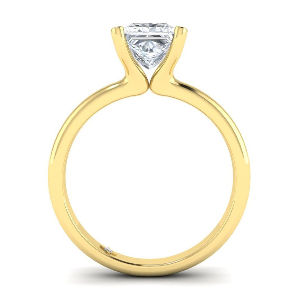 Yellow Gold 0.60 carat D/SI1 Princess Cut Diamond Engagement Ring Floating 4-Prong Solitaire - Custom Made