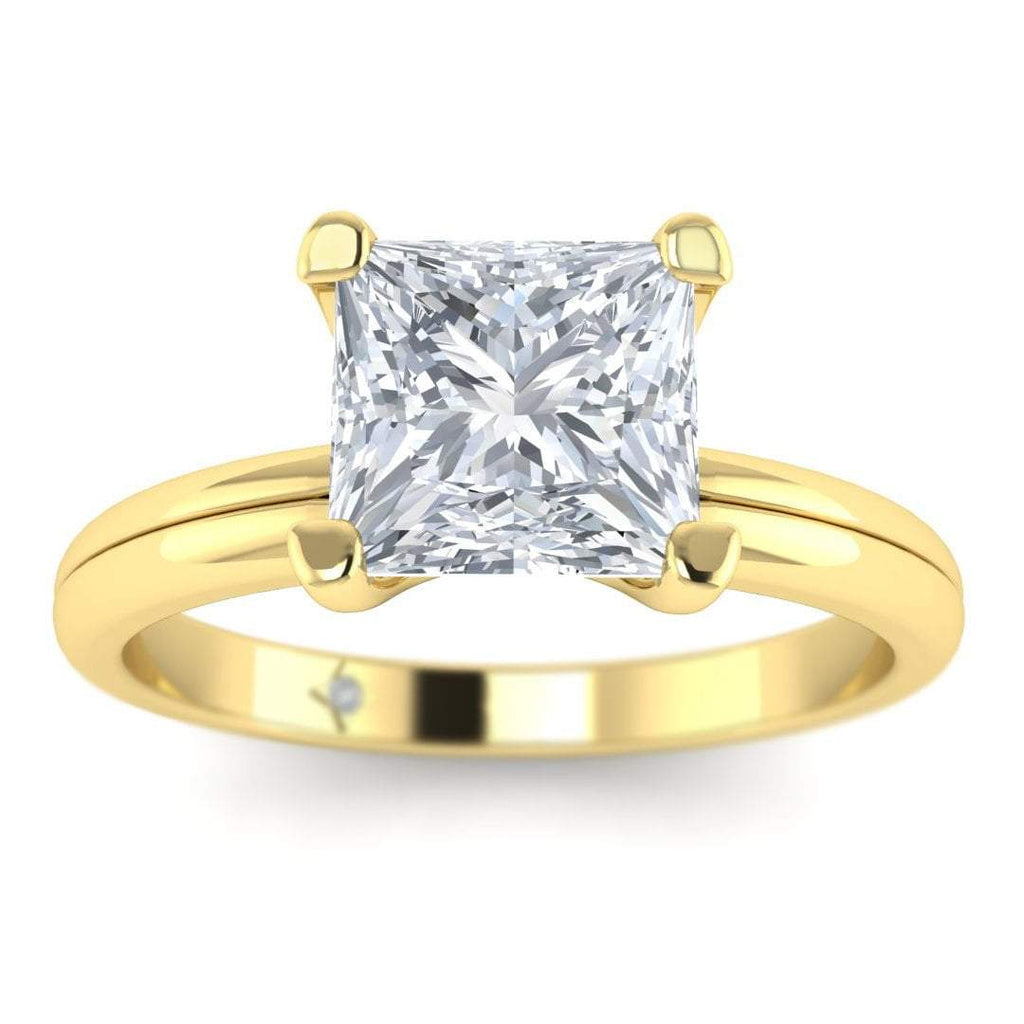 Yellow Gold 0.80 carat D/SI1 Princess Cut Diamond Engagement Ring Floating 4-Prong Solitaire - Custom Made