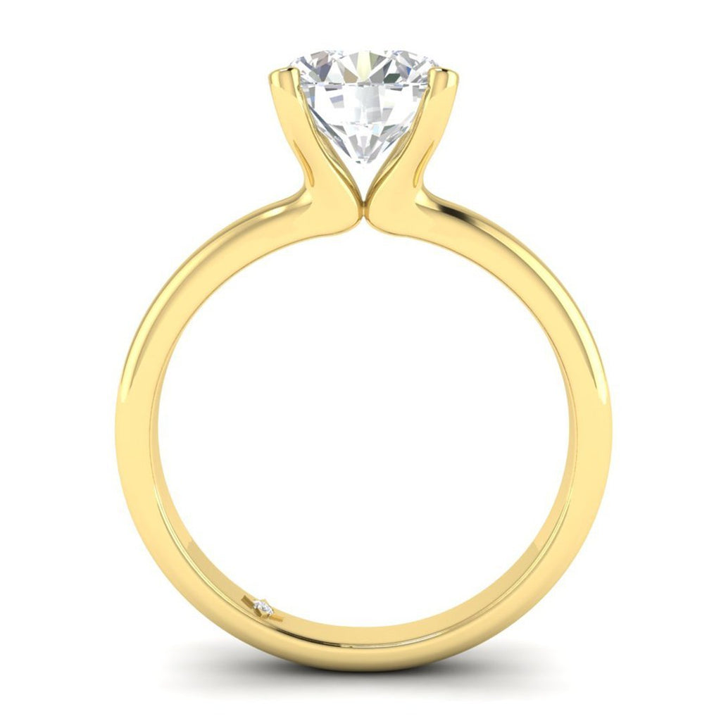 EN-SO-14-CE-D-SI1-EX Yellow Gold Floating 4-Prong Solitaire Round Diamond Engagement Ring - 1.00 carat D/SI1 Clarity Enhanced