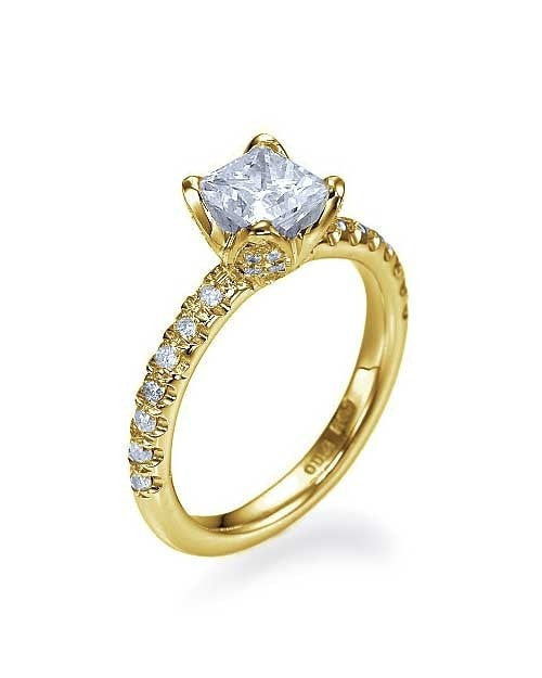 Yellow Gold Flower Unique Princess Cut Engagement Ring - 1ct Diamond - Custom Made
