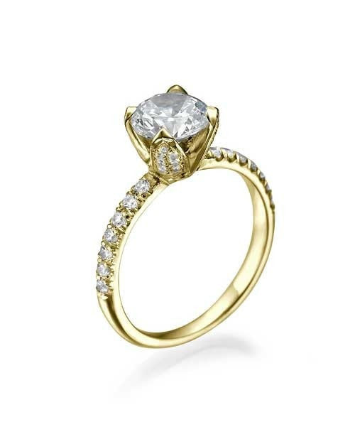 Engagement Rings Yellow Gold Flower Unique Round Cut Engagement Ring - 0.75ct Diamond