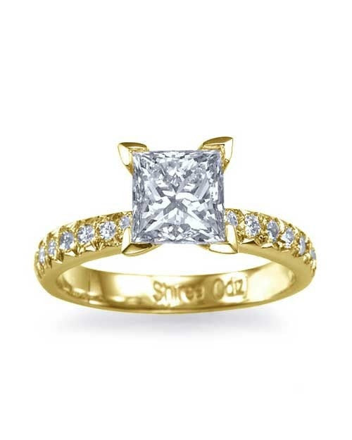 Yellow Gold French-Cut Pave Set Princess Cut Engagement Ring - 1.5ct Diamond - Custom Made
