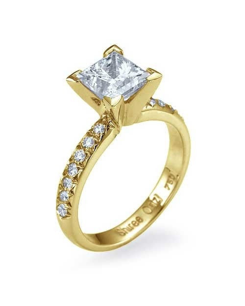 Engagement Rings Yellow Gold French-Cut Pave Set Princess Cut Semi Mount Diamond Ring