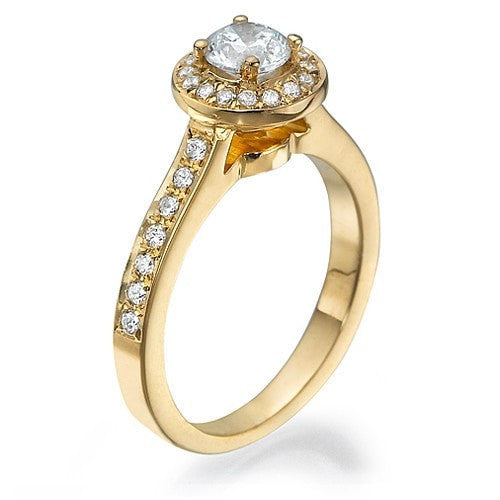 Engagement Rings Yellow Gold Halo Cathedral Round Cut Semi Mount Diamond Rings