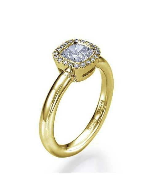 Yellow Gold Halo Cushion Cut Engagement Art Deco Style Ring - 1ct Diamond - Custom Made