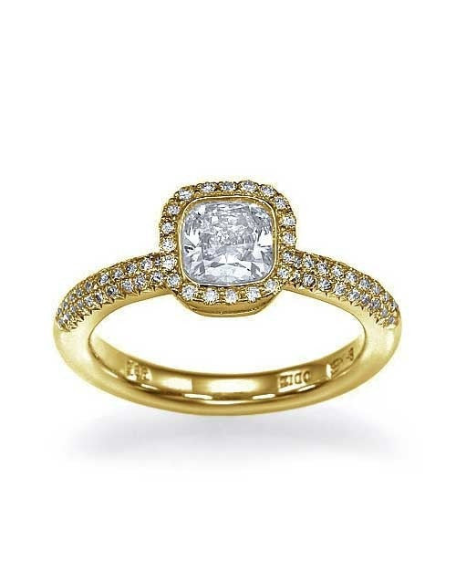 Yellow Gold Halo Cushion Cut Engagement Ring Pave Set - 1ct Diamond - Custom Made