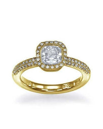Engagement Rings Yellow Gold Halo Cushion Cut Engagement Ring Pave Set - 1ct Diamond