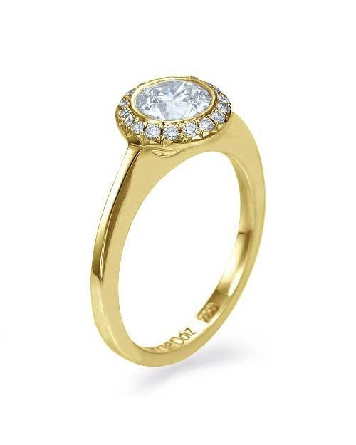 Yellow Gold Halo Engagement Ring Round Cut Bezel Set 1-Row - 0.75ct Diamond - Custom Made