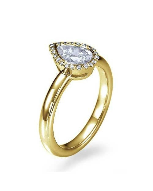 Engagement Rings Yellow Gold Halo Pear Shaped Engagement Ring - 1ct Diamond