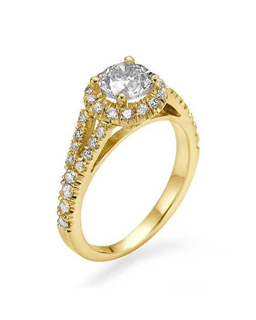 Yellow Gold Halo Split Shank Round Engagement Ring - 0.75ct Diamond - Custom Made