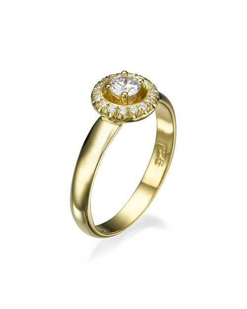 Engagement Rings Yellow Gold Halo Surrounding Round Cut Engagement Ring - 0.3ct Diamond