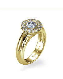 Engagement Rings Yellow Gold Halo Wide Band Bezel Engagement Ring - 0.75ct Diamond
