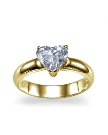 Engagement Rings Yellow Gold Heart Shaped Solitaire Semi Mount Diamond Rings