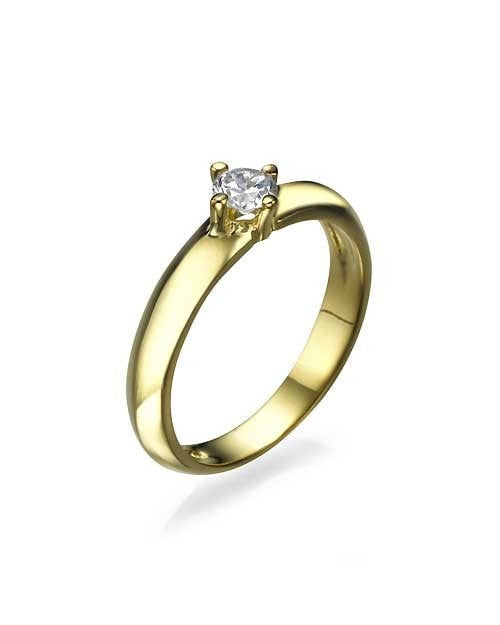 Engagement Rings Yellow Gold Knife Edge 4-Prong Round Cut Engagement Ring - 0.3ct Diamond