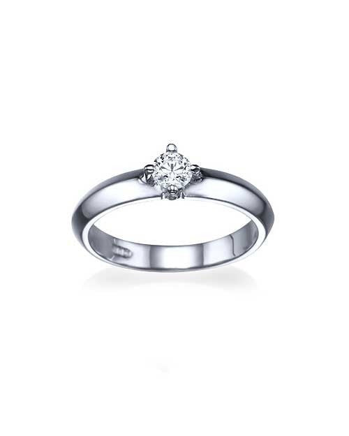 Yellow Gold Knife Edge 4-Prong Round Cut Engagement Ring - 0.3ct Diamond - Custom Made