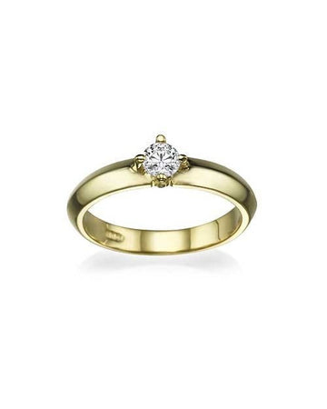 Engagement Rings Yellow Gold Knife Edge 4-Prong Round Cut Mount Diamond Ring