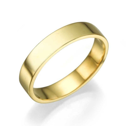 Wedding Rings Yellow Gold Men's Wedding Ring - 3.9mm Flat Design