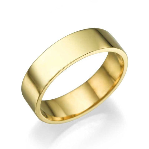 Wedding Rings Yellow Gold Men's Wedding Ring - 5.2mm Flat Design