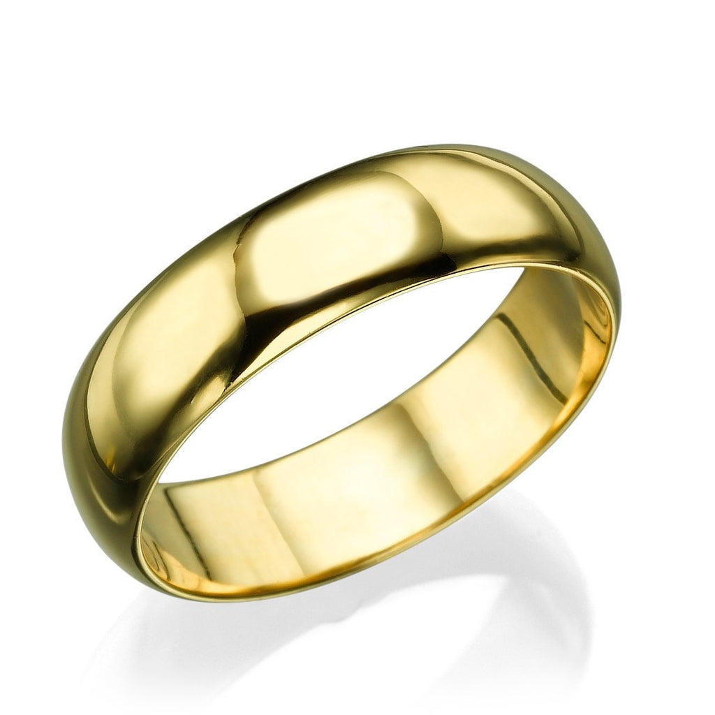 Yellow Gold Men's Wedding Ring - 5.6mm Rounded Plain Band - Custom Made