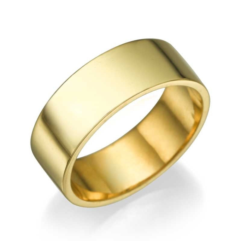 Yellow Gold Men's Wedding Ring - 6.4mm Flat Design - Custom Made