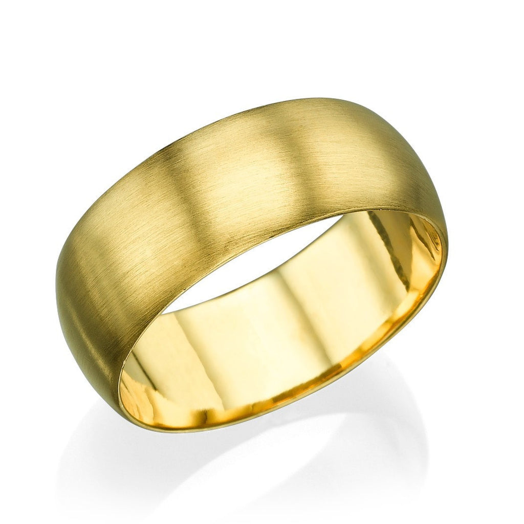 Yellow Gold Men's Wedding Ring - 7.7mm Rounded Brushed Matte Band - Custom Made