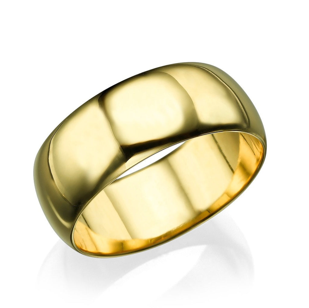 Yellow Gold Men's Wedding Ring - 7.7mm Rounded Plain Band - Custom Made