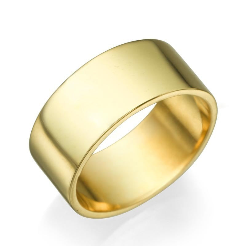 Mens Yellow Gold Wedding Ring 8mm Flat Design by Shiree Odiz NY
