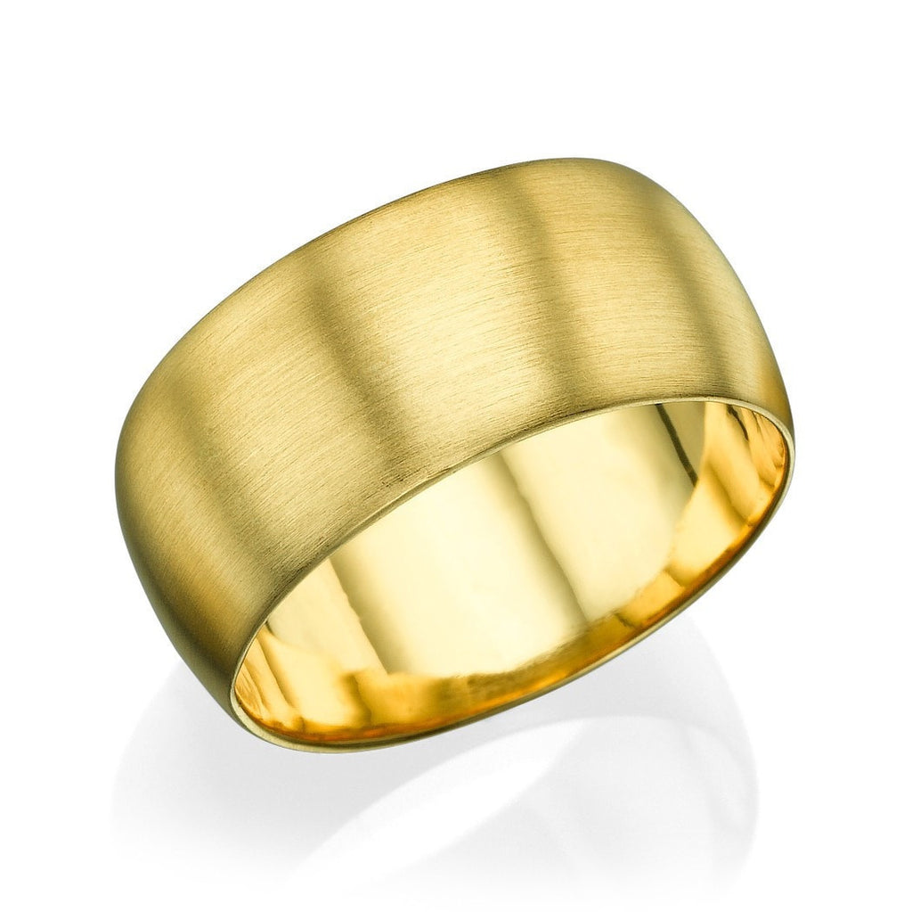 Wedding Rings Yellow Gold Men's Wedding Ring - 9.5mm Rounded Brushed Matte Band