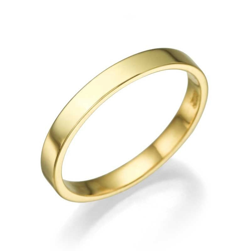 Yellow Gold Mens Wedding Ring - 2.5mm Flat Design - Custom Made