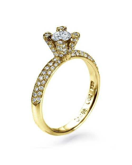 Engagement Rings Yellow Gold Pave 4-Prong Design Diamond Semi Mount Setting