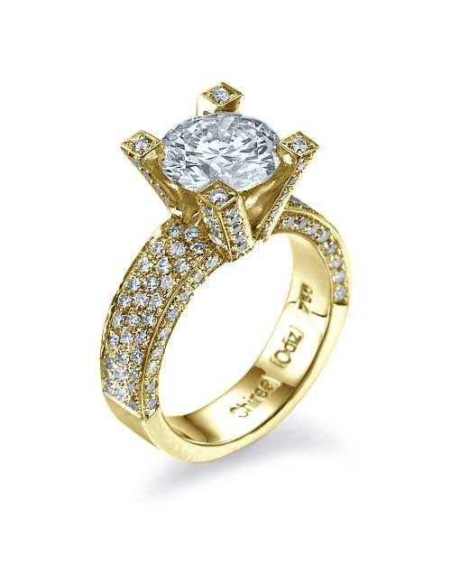 Engagement Rings Yellow Gold Pave Set 3-Row Round Cut Semi Mount Setting