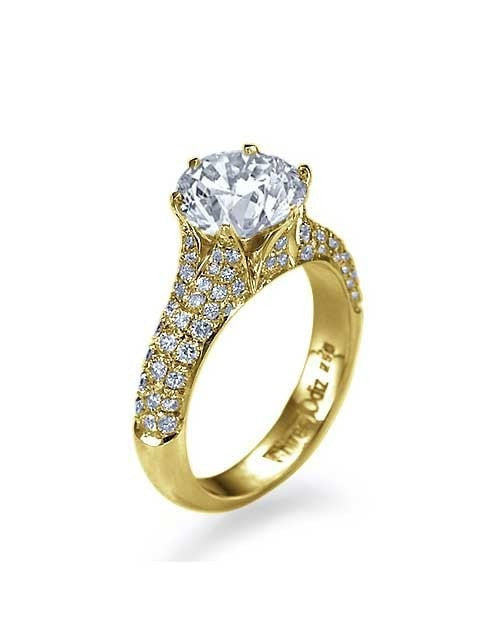 Engagement Rings Yellow Gold Pave Set 6-Prong Engagement Ring - 2ct Diamond