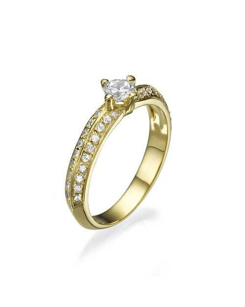 Engagement Rings Yellow Gold Pave Set Knife Edge Solitaire Engagement Ring - 0.3ct Diamond