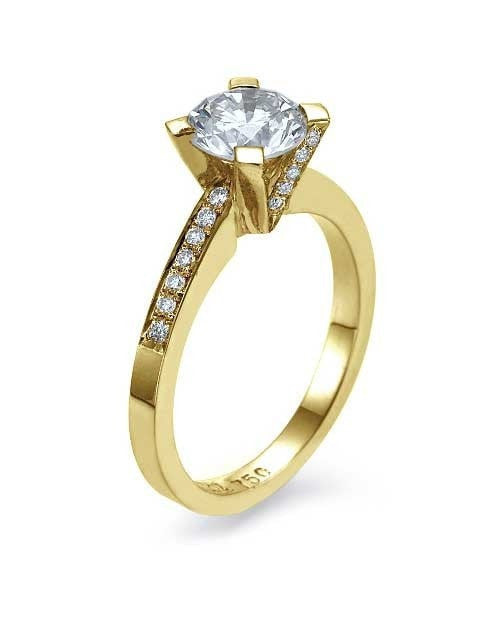 Yellow Gold Pave Set Modern Engagement Ring 4-Prong V-Shape - 1ct Diamond - Custom Made