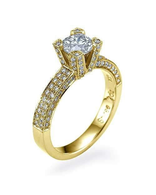 Engagement Rings Yellow Gold Pave Set Round Cut 4-Prong Mount Diamond Rings