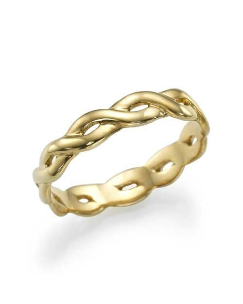Yellow Gold Plain Infinity Design Womens Wedding Band Ring - Custom Made