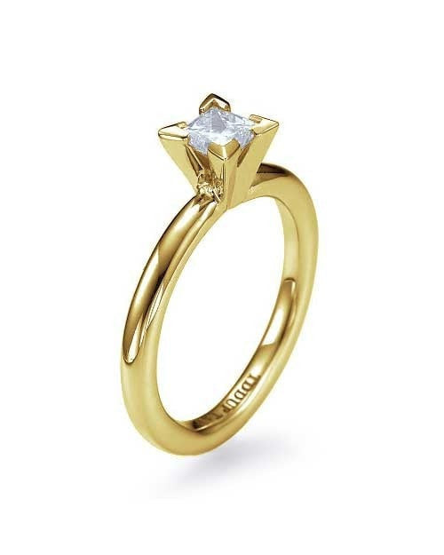 Engagement Rings Yellow Gold Princess Cut 4-Prong Solitaire Engagement Ring - 1ct Diamond