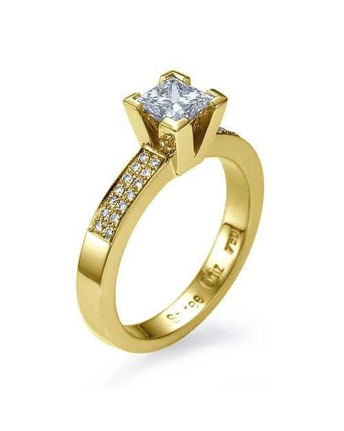 Engagement Rings Yellow Gold Princess Cut Engagement Ring 4-Prong Pave Set - 1ct Diamond