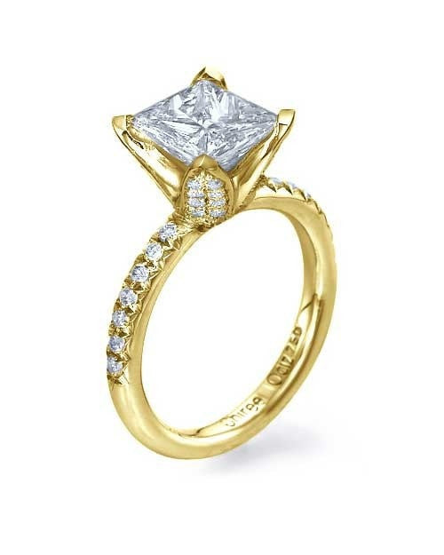 Yellow Gold Princess Cut Engagement Ring in Unique Pave Diamond Setting - 1.5ct Diamond - Custom Made