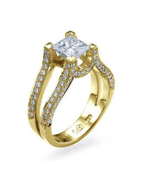 Engagement Rings Yellow Gold Princess Cut Engagement Ring Split Shank Pave - 1.5ct Diamond