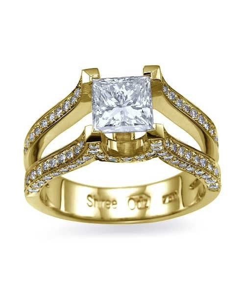 Yellow Gold Princess Cut Engagement Ring Split Shank Pave - 1.5ct Diamond - Custom Made