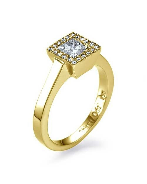 Engagement Rings Yellow Gold Princess Cut Halo Engagement Ring Bezel Set Diamonds - 1ct Diamond